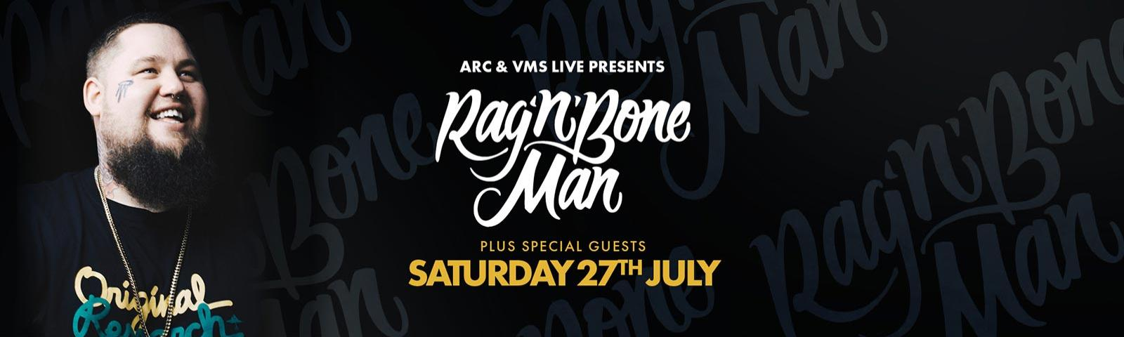 A promotional advert for Rag n Bone Man at Brighton Racecourse on 27th July 2019
